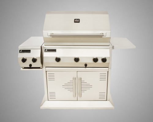 6 Burner Stand-Alone Grill with Rotisserie, Dual Side Burner and 2 Door Cart