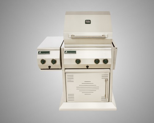 4 Burner Stand-Alone Grill with Rotisserie, Dual Side Burner and Single Door Cart